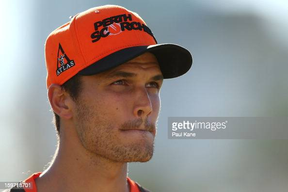 Nathan CoulterNile of the Scorchers looks on during the Big Bash League final match between the Perth Scorchers and the Brisbane Heat at the WACA on...