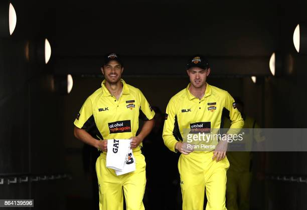 Nathan CoulterNile of the Warriors and Ashton Turner of the Warriors look on during the JLT One Day Cup Final match between Western Australia and...