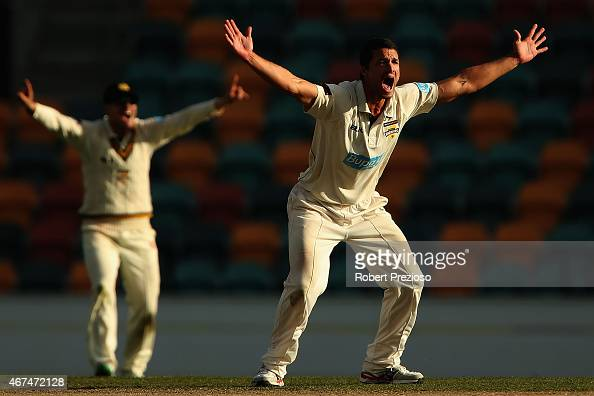 Nathan CoulterNile of Western Australia appeals unsuccessfully during day five of the Sheffield Shield final match between Victoria and Western...