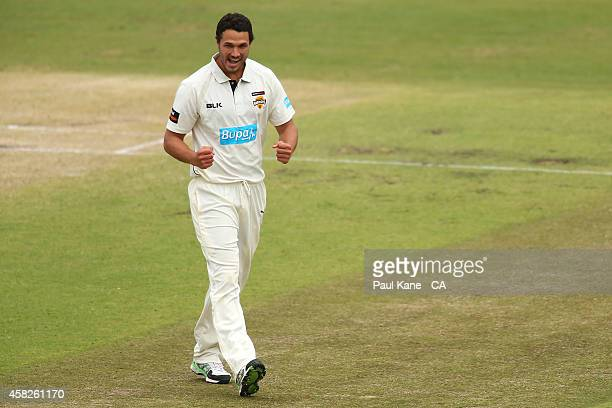 Nathan CoulterNile of Western Australia celebrates the wicket of George Bailey of Tasmania during day three of the Sheffield Shield match between...