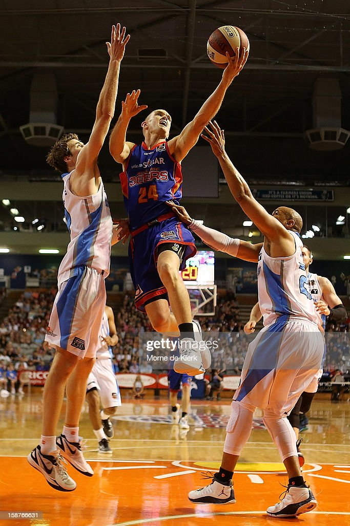 Nathan Crosswell of the 36ers goes for the basket during the round 12 NBL match between the Adelaide 36ers and the New Zealand Breakers at Adelaide Arena on December 28, 2012 in Adelaide, Australia.