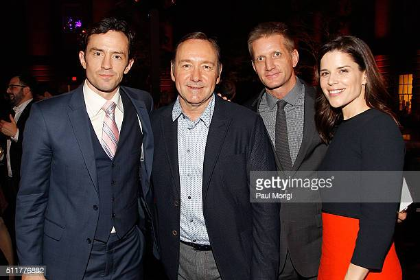 Nathan Darrow Kevin Spacey Paul Sparks and Neve Campbell attend the portrait unveiling and season 4 premiere of Netflix's 'House Of Cards' at the...