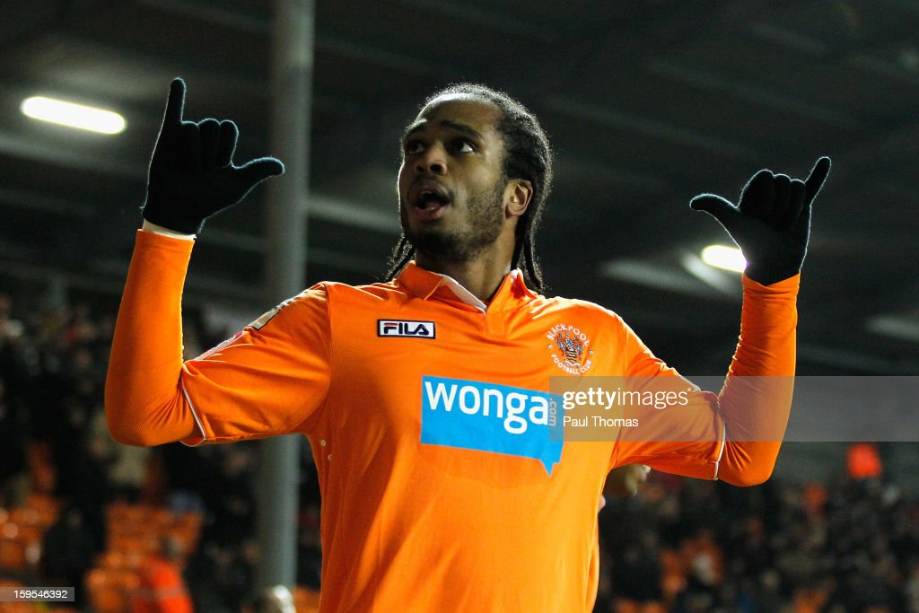 <a gi-track='captionPersonalityLinkClicked' href=/galleries/search?phrase=Nathan+Delfouneso&family=editorial&specificpeople=5448187 ng-click='$event.stopPropagation()'>Nathan Delfouneso</a> of Blackpool celebrates scoing the opening goal during the FA Cup with Budweiser Third Round Replay match between Blackpool and Fulham at Bloomfield Road on January 15, 2013 in Blackpool, England.