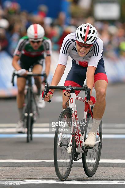 Nathan Draper of Great Britain crosses the finish line in the Junior Men's Road Race on day seven of the UCI Road World Championships on September 26...