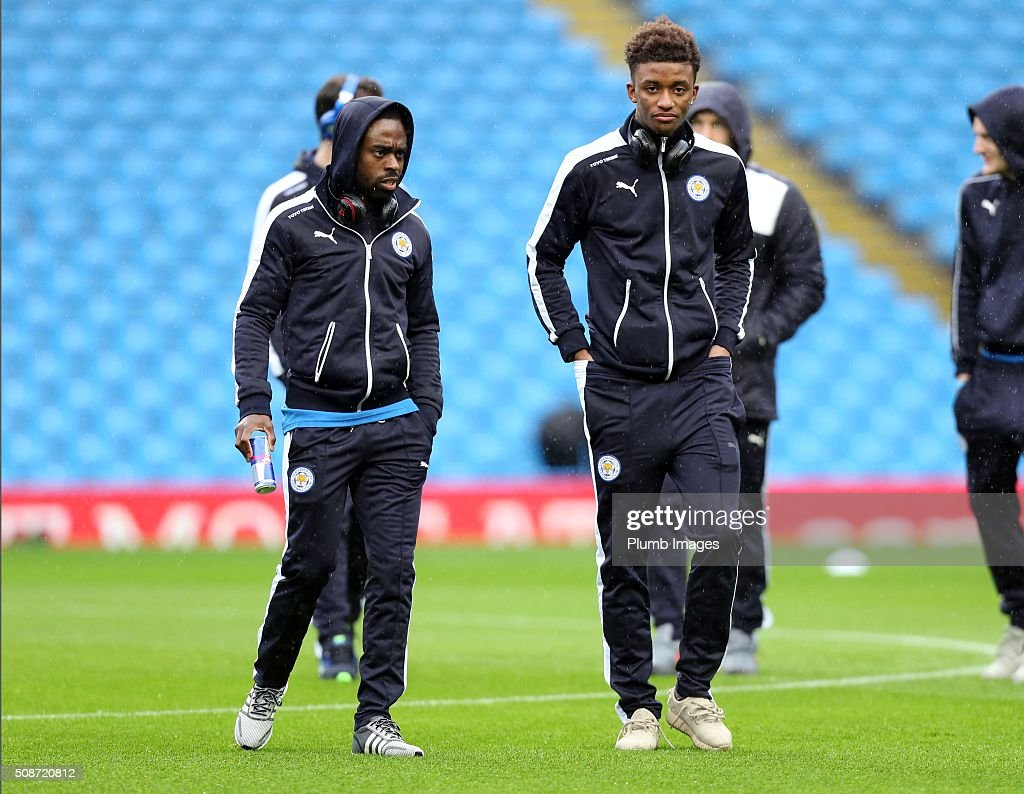 Nathan Dyer and Demarai Gray of Leicester City at the Etihad Stadium ahead of the Premier League match between Manchester City and Leicester City at Etihad Stadium on February 6, 2016 in Manchester, United Kingdom.