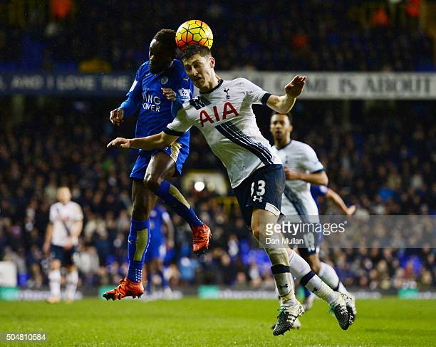 Nathan Dyer of Leicester City and Ben Davies of Tottenham Hotspur compete for the ball during the Barclays Premier League match between Tottenham...