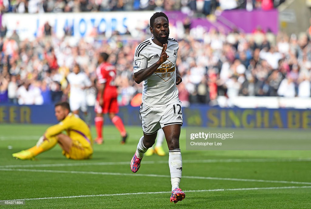 Nathan Dyer of Swansea celebrates after scoring their third goal during the Barclays Premier League match between Swansea City and West Bromwich Albion at Liberty Stadium on August 30, 2014 in Swansea, Wales.