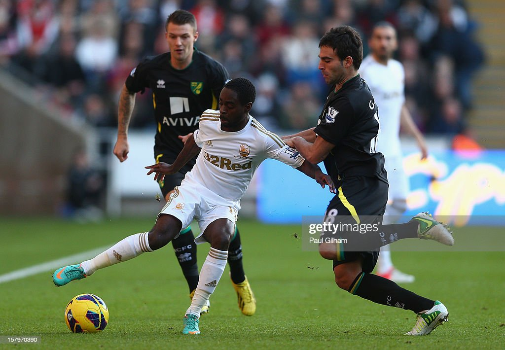 Nathan Dyer of Swansea City battles for the ball with Javier Garrido of Norwich City during the Barclays Premier League match between Swansea City and Norwich City at the Liberty Stadium on December 8, 2012 in Swansea, Wales.