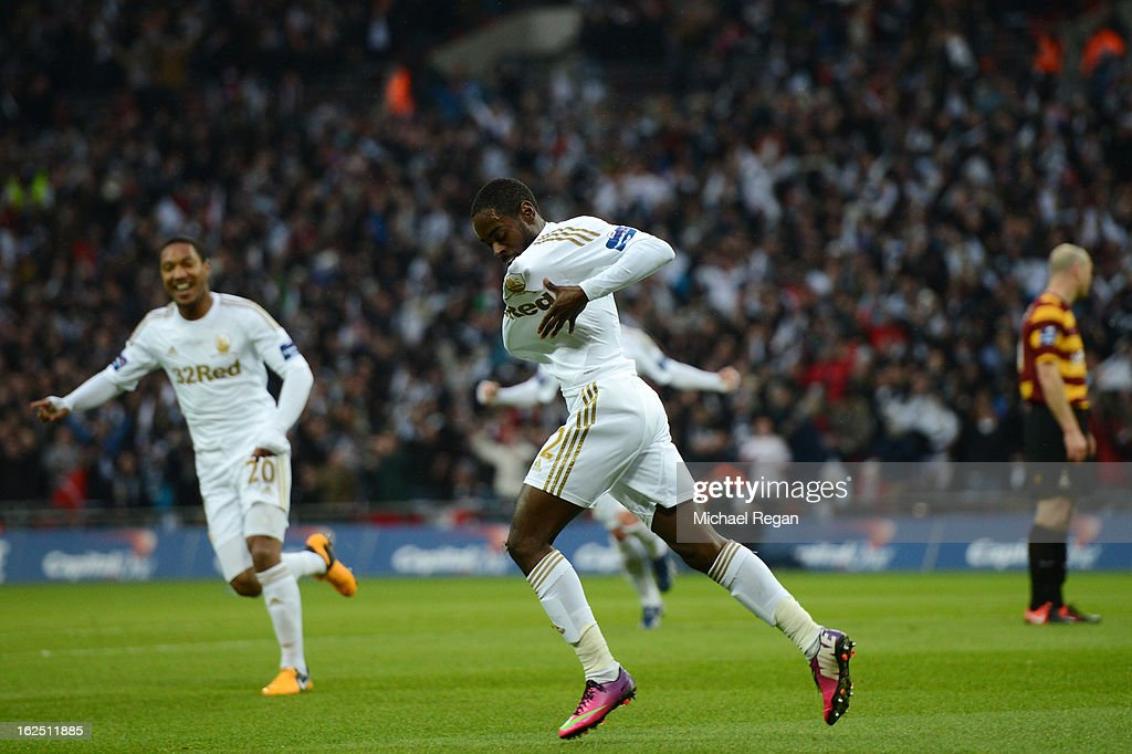Nathan Dyer of Swansea City celebrates after scoring the opening goal during the Capital One Cup Final match between Bradford City and Swansea City at Wembley Stadium on February 24, 2013 in London, England.