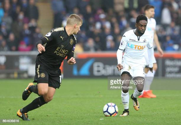 Nathan Dyer of Swansea City is marked by Marc Albrighton of Leicester Cityddthe Premier League match between Swansea City and Leicester City at The...