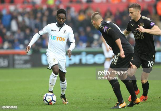 Nathan Dyer of Swansea City is marked by Marc Albrighton of Leicester Cityd during the Premier League match between Swansea City and Leicester City...