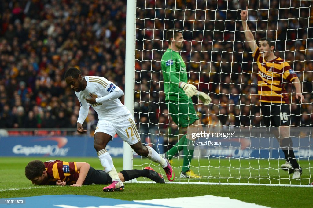 Nathan Dyer of Swansea City turns to celebrate after scoring the opening goal during the Capital One Cup Final match between Bradford City and Swansea City at Wembley Stadium on February 24, 2013 in London, England.