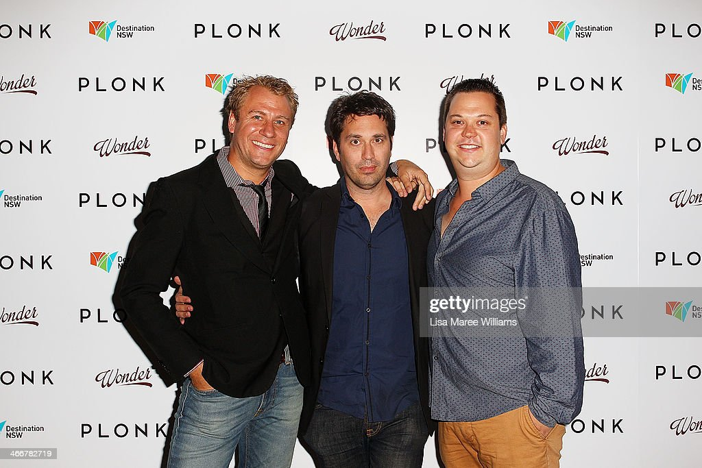 Nathan Earl, Chris Taylor and Joshua Tyler arrive at the PLONK media launch at Palace Verona on February 4, 2014 in Sydney, Australia.