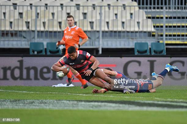 Nathan Earle of Canterbury dives over to score a try during the Mitre 10 Cup Premiership Final match between Canterbury and Tasman at AMI Stadium on...