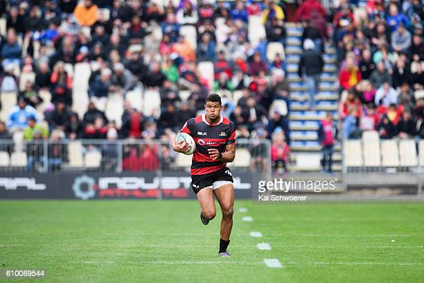 Nathan Earle of Canterburyruns with the ball during the round six Mitre 10 Cup match between Canterbury and Otago at AMI Stadium on September 24 2016...