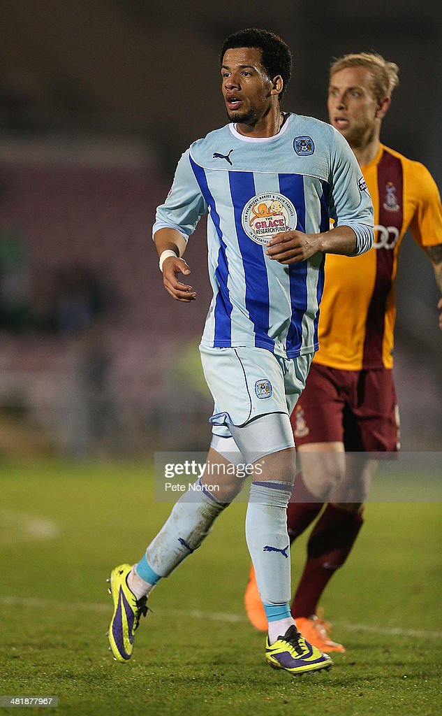 Nathan Eccleston of Coventry City in action during the Sky Bet League One match between Coventry City and Bradford City at Sixfields Stadium on April 1, 2014 in Northampton, England.