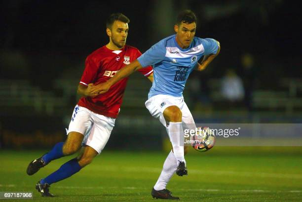 Nathan Elasi of the Sharks gathers the ball during the NSW NPL Men's match between Sutherland Sharks FC and Sydney United 58 on June 17 2017 in...