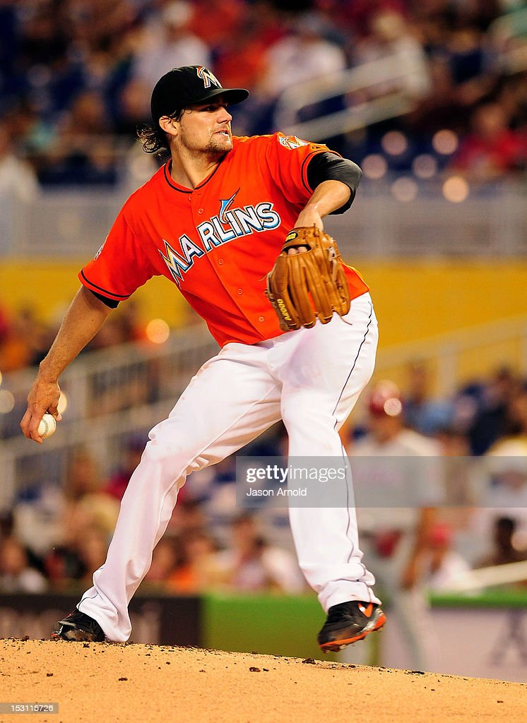 <a gi-track='captionPersonalityLinkClicked' href=/galleries/search?phrase=Nathan+Eovaldi&family=editorial&specificpeople=8023089 ng-click='$event.stopPropagation()'>Nathan Eovaldi</a> #24 of the Miami Marlins pitches against the Philadelphia Phillies at Marlins Park on September 30, 2012 in Miami, Florida.