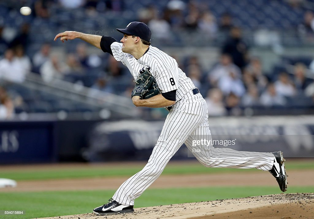 Nathan Eovaldi #30 of the New York Yankees delivers a pitch in the first inning against the Toronto Blue Jays at Yankee Stadium on May 24, 2016 in the Bronx borough of New York City.