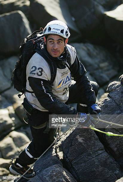 Nathan Fa'avae from the New Zealand team Balance Vector rock climbs on the Charleston Clifts overlooking the Tasman Sea on the fifth day of the...
