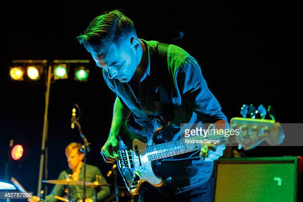 Nathan Fairweather of Brontide performs on stage at Tramlines Festival at City Hall on July 26 2014 in Sheffield United Kingdom