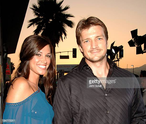 Nathan Fillion and Lisa Donahue during 'The 40YearOld Virgin' Los Angeles Premiere Red Carpet at Arclight Hollywood in Los Angeles California United...