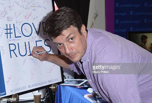Nathan Fillion attends day 2 of GBK Gift Lounge during MTV Movie Awards weekend at Hollywood Roosevelt Hotel on April 11 2015 in Hollywood California