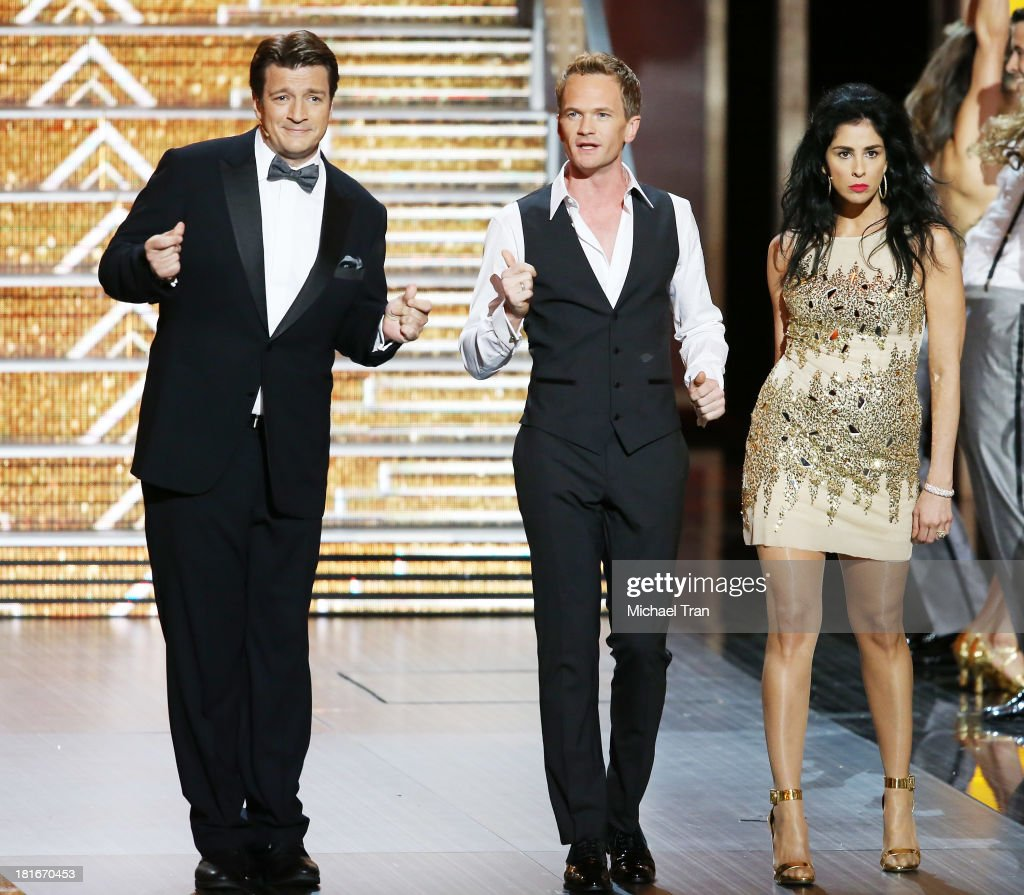 Nathan Fillion Neil Patrick Harris and Sarah Silverman perform onstage during the 65th Annual Primetime Emmy Awards held at Nokia Theatre LA Live on...