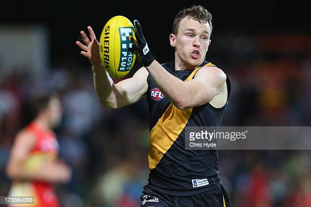 Nathan Foley of the Tigers takes a mark during the round 16 AFL match between the Richmond Tigers and the Gold Coast Suns at Cazaly's Stadium on July...