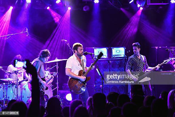Nathan Followill Matthew Followill Caleb Followill and Jared Followill of Kings Of Leon perform onstage in a private concert for SiriusXM at Poisson...