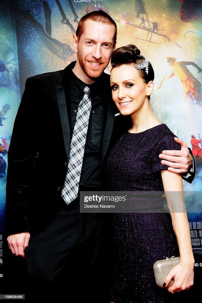 Nathan Foss and actress Erica Linz attend 'Cirque Du Soleil: Worlds Away' New York Screening at Regal E-Walk on December 20, 2012 in New York City.