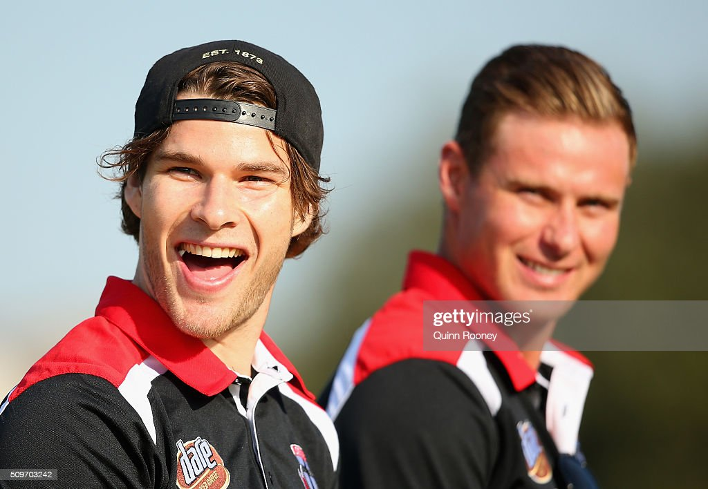 Nathan Freeman and David Armitage of the Saints look on during the quater time huddle during the St Kilda Saints AFL Intra-Club Match at Trevor Barker Beach Oval on February 12, 2016 in Melbourne, Australia.