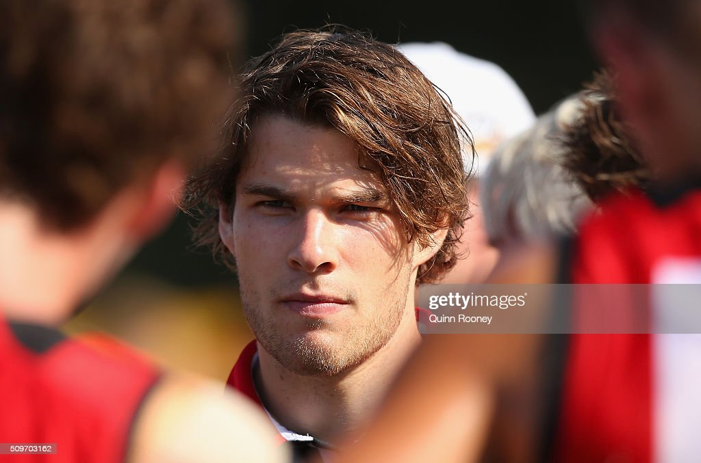 Nathan Freeman of the Saints looks on during the quater time huddle during the St Kilda Saints AFL Intra-Club Match at Trevor Barker Beach Oval on February 12, 2016 in Melbourne, Australia.