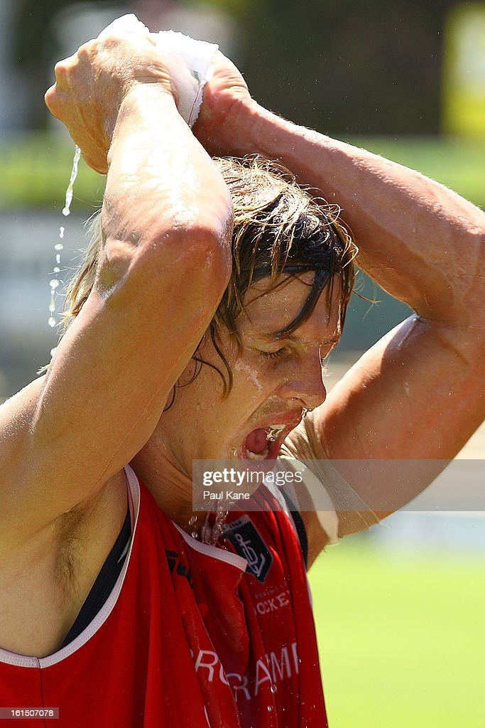 Nathan Fyfe cools down during a Fremantle Dockers AFL training session at Fremantle Oval on February 12, 2013 in Fremantle, Australia.