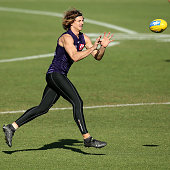 Nathan Fyfe marks the ball during a Fremantle Dockers AFL training session at Fremantle Oval on July 8 2015 in Fremantle Australia
