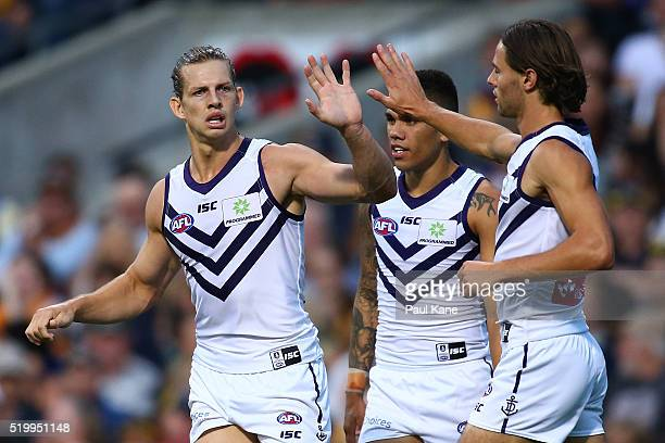 Nathan Fyfe of the Dockers celebrates a goal during the round three AFL match between the West Coast Eagles and the Fremantle Dockers at Domain...
