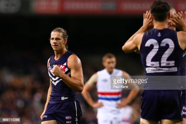 Nathan Fyfe of the Dockers celebrates after winning the round three AFL match between the Fremantle Dockers and the Western Bulldogs at Domain...