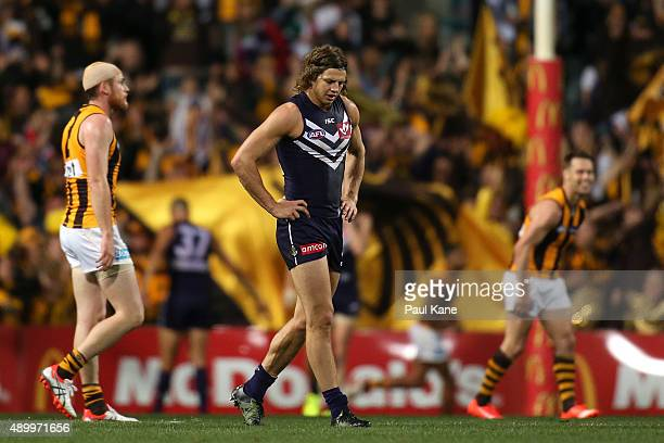 Nathan Fyfe of the Dockers looks on after a Hawks goal during the AFL First Preliminary Final match between the Fremantle Dockers and the Hawthorn...