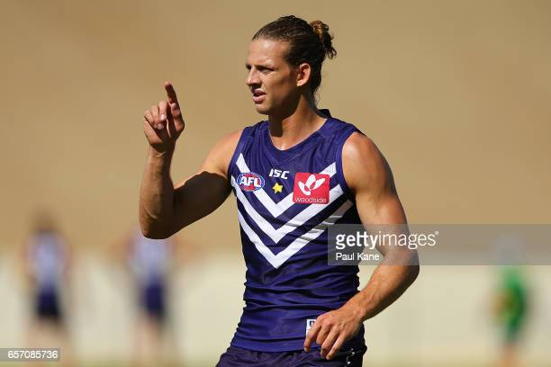 Nathan Fyfe of the Dockers looks on during a Fremantle Dockers AFL training session at Victor George Kailis Oval on March 24 2017 in Perth Australia