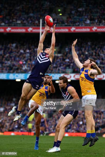 Nathan Fyfe of the Dockers marks the ball during the round 17 AFL match between the Fremantle Dockers and the West Coast Eagles at Domain Stadium on...