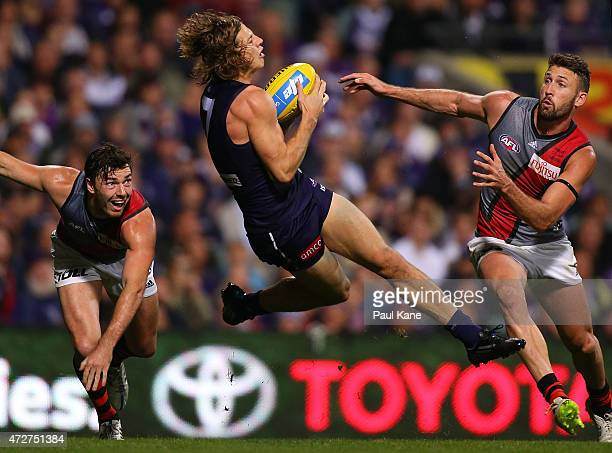 Nathan Fyfe of the Dockers marks the ball during the round six AFL match between the Fremantle Dockers and the Essendon Bombers at Domain Stadium on...