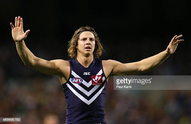 Nathan Fyfe of the Dockers stands on the mark during the AFL First Preliminary Final match between the Fremantle Dockers and the Hawthorn Hawks at...