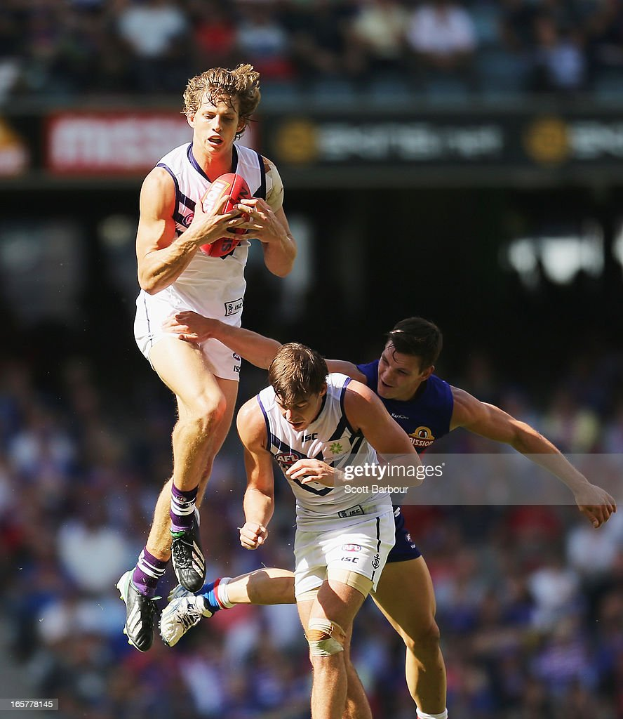 Nathan Fyfe of the Dockers takes a mark during the round two AFL match between the Western Bulldogs and the Fremantle Dockers at Etihad Stadium on April 6, 2013 in Melbourne, Australia.