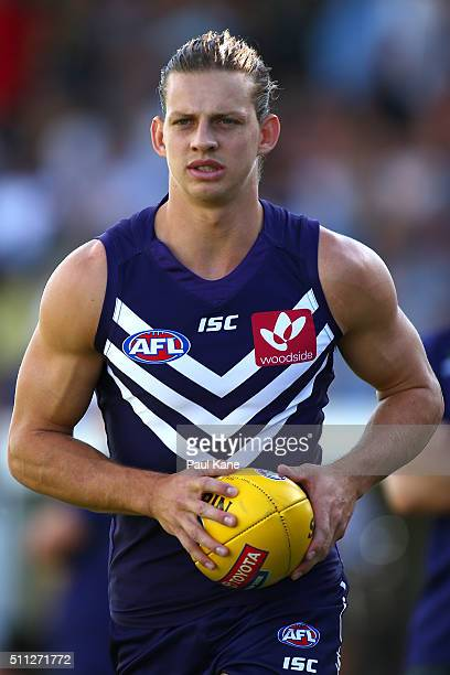 Nathan Fyfe of the Dockers warms up on the sidelines during the 2016 AFL NAB Challenge match between the Fremantle Dockers and the Richmond Tigers at...