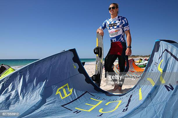 Nathan Fyfe poses with his board and kite after completing the Red Bull Lighthouse to Leighton kiteboard race on December 4 2016 in Perth Australia