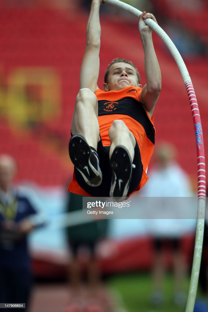 Nathan Gardner of Hertfordshire competes in the Junior Boys Pole Vault during day one of the Aviva English Schools Track and Field Championships at the Gateshead International Stadium on July 6, 2012 in Gateshead, England. Search Aviva Athletics on Facebook to Back The Team.