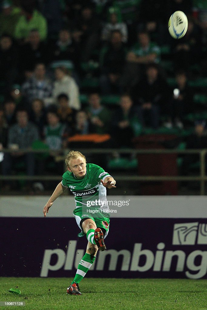 Nathan George of Manawatu kicks during the round one ITM Cup match between Manawatu and Wellington at FMG Stadium on August 24, 2012 in Palmerston North, New Zealand.