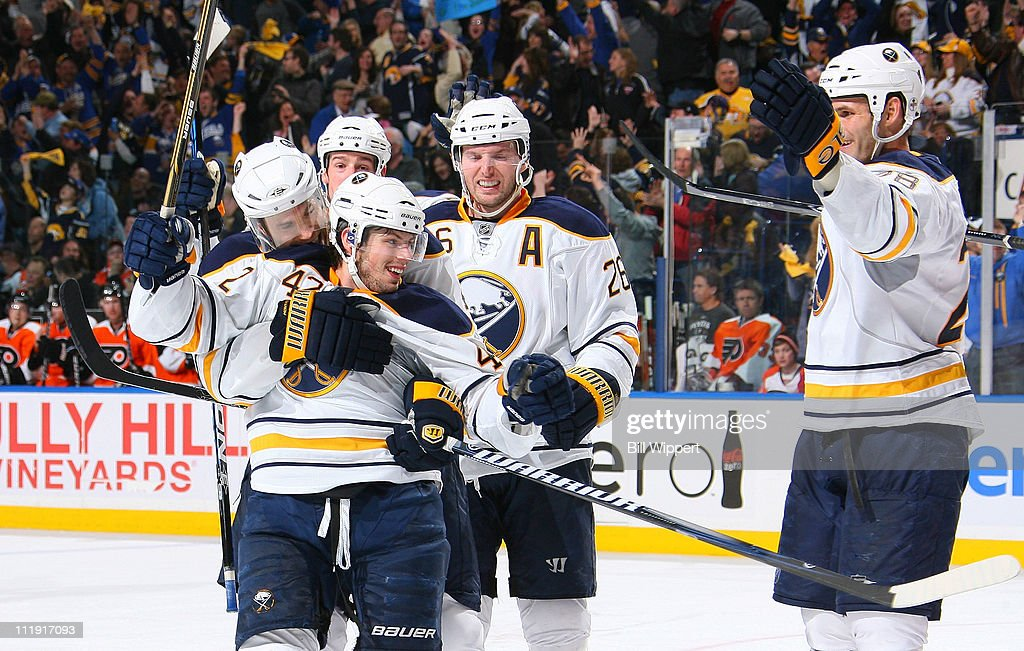 <a gi-track='captionPersonalityLinkClicked' href=/galleries/search?phrase=Nathan+Gerbe&family=editorial&specificpeople=697084 ng-click='$event.stopPropagation()'>Nathan Gerbe</a> #42 of the Buffalo Sabres celebrates his third period goal to tie the game against the Philadelphia Flyers at HSBC Arena on March 8, 2011 in Buffalo, New York.