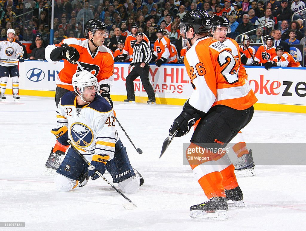 Nathan Gerbe #42 of the Buffalo Sabres scores a spinning backhand third period goal to tie the game against the Philadelphia Flyers at HSBC Arena on March 8, 2011 in Buffalo, New York.
