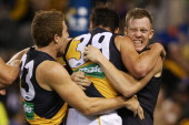 Nathan Gordon of the Tigers celebrates a goal with Dan Jackson and Jack Riewoldt during the round three AFL match between the Western Bulldogs and...